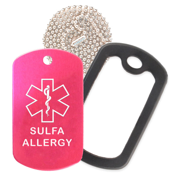 Hot Pink Sulfa Allergy Medical ID Necklace with Black Rubber Silencer and 30'' Ball Chain
