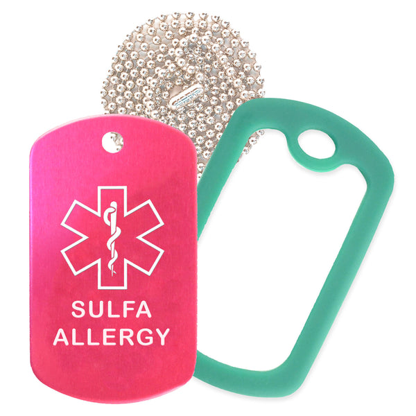 Hot Pink Sulfa Allergy Medical ID Necklace with Green Rubber Silencer and 30'' Ball Chain