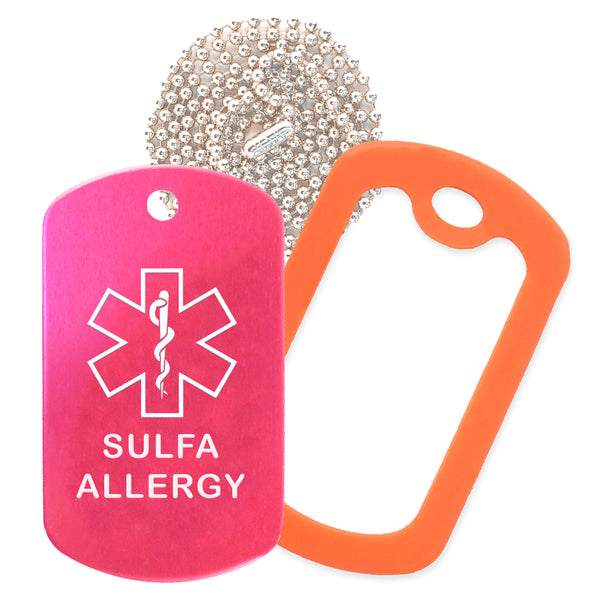 Hot Pink Sulfa Allergy Medical ID Necklace with Orange Rubber Silencer and 30'' Ball Chain