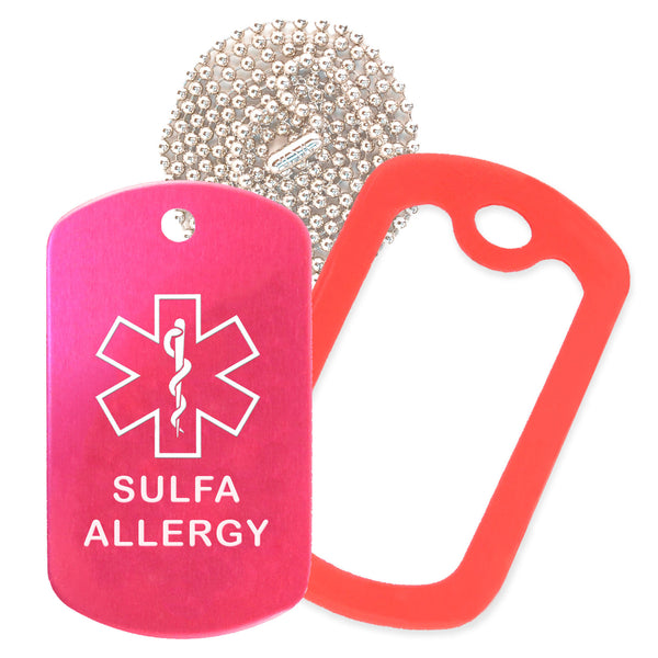 Hot Pink Sulfa Allergy Medical ID Necklace with Red Rubber Silencer and 30'' Ball Chain