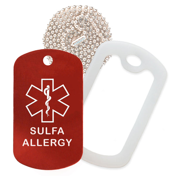 Red Sulfa Allergy Medical ID Necklace with Clear Rubber Silencer and 30'' Ball Chain