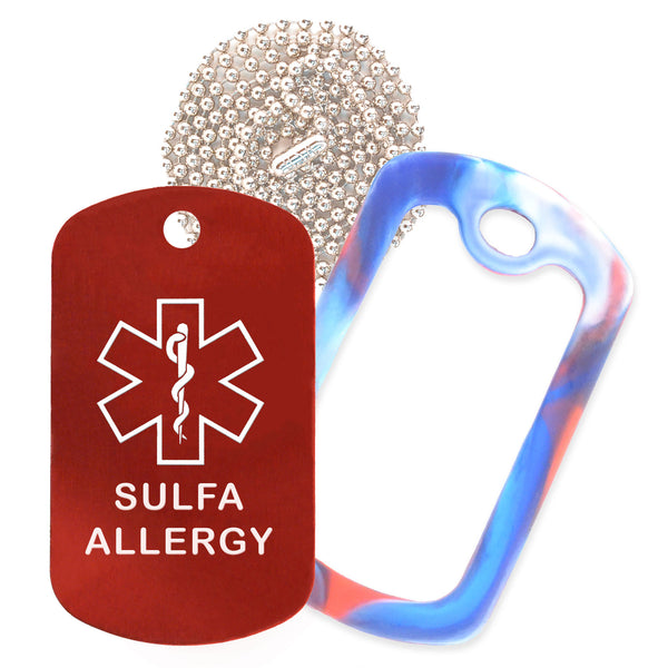 Red Sulfa Allergy Medical ID Necklace with Red White and Blue Rubber Silencer and 30'' Ball Chain