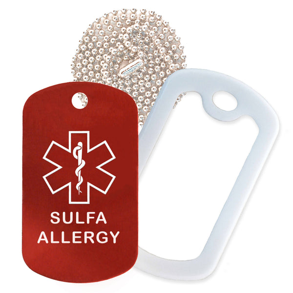 Red Sulfa Allergy Medical ID Necklace with White Rubber Silencer and 30'' Ball Chain