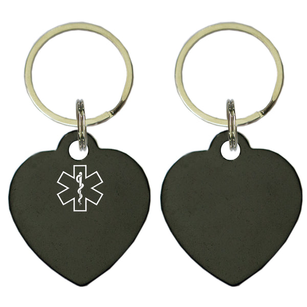 Two Black Heart Shaped Key Chains With Medical Alert Symbol