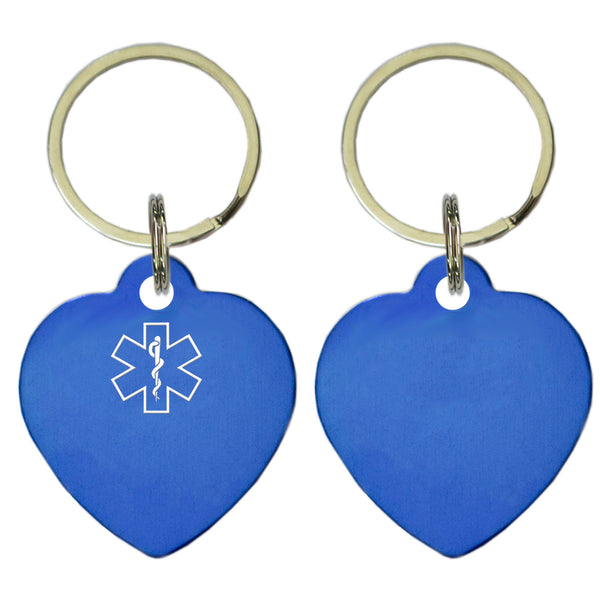 Two Blue Heart Shaped Key Chains With Medical Alert Symbol