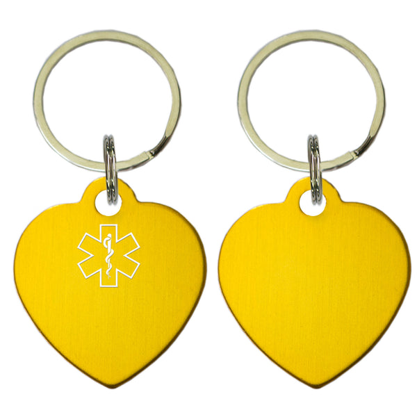 Two Gold Heart Shaped Key Chains With Medical Alert Symbol