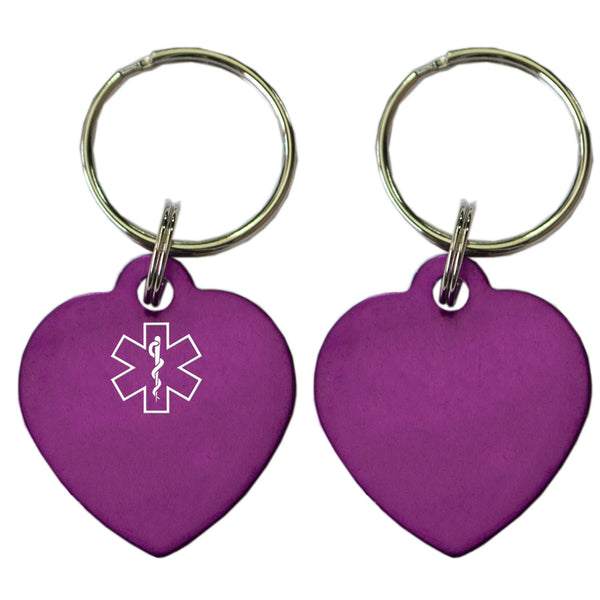 Two Purple Heart Shaped Key Chains With Medical Alert Symbol