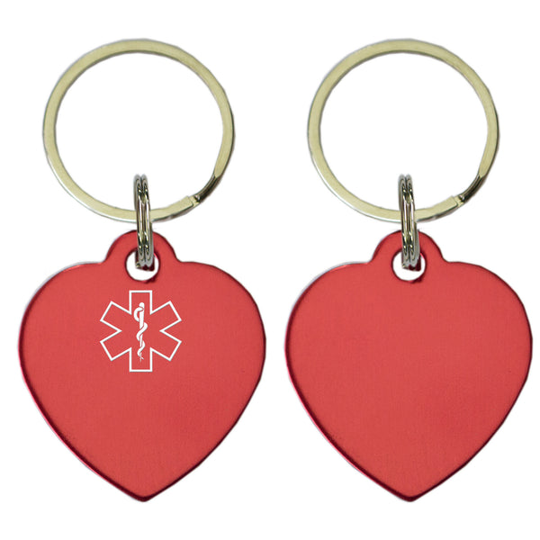 Two Red Heart Shaped Key Chains With Medical Alert Symbol