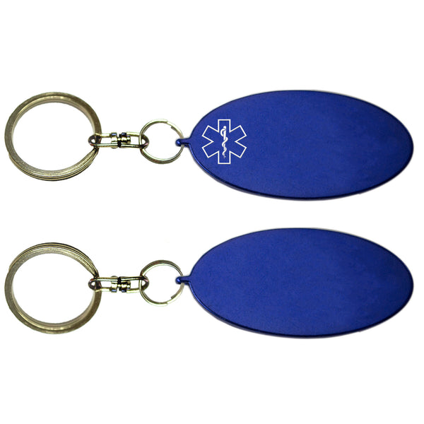 Two Blue Oval Shaped Key Chains With Medical Alert Symbol