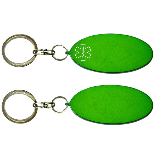 Two Green Oval Shaped Key Chains With Medical Alert Symbol