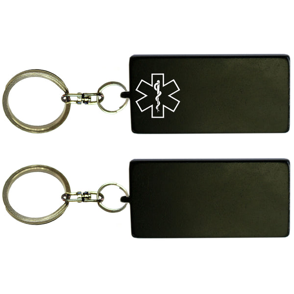 Two Black Rectangle Shaped Key Chains With Medical Alert Symbol