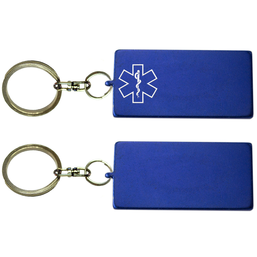 Two Blue Rectangle Shaped Key Chains With Medical Alert Symbol