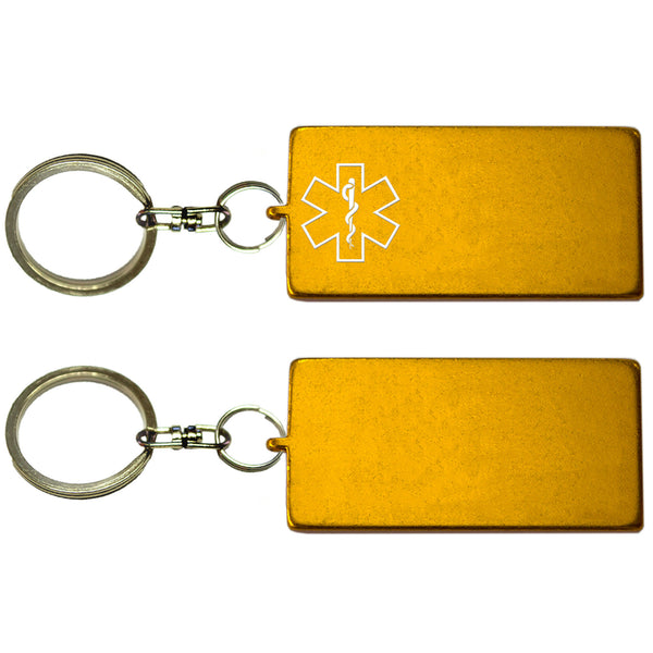Two Gold Rectangle Shaped Key Chains With Medical Alert Symbol
