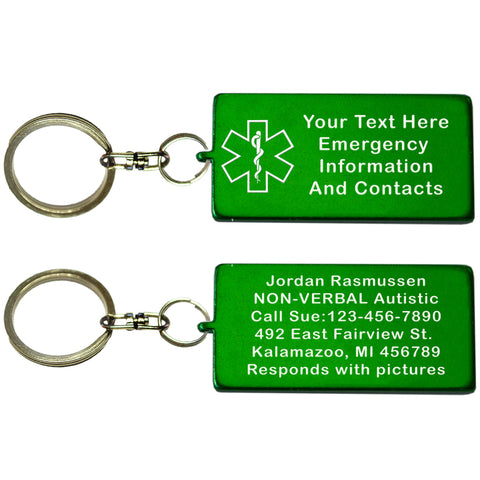Two Green Rectangle Shaped Custom Text Key Chains With Medical Alert Symbol