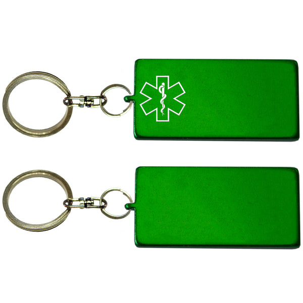 Two Green Rectangle Shaped Key Chains With Medical Alert Symbol