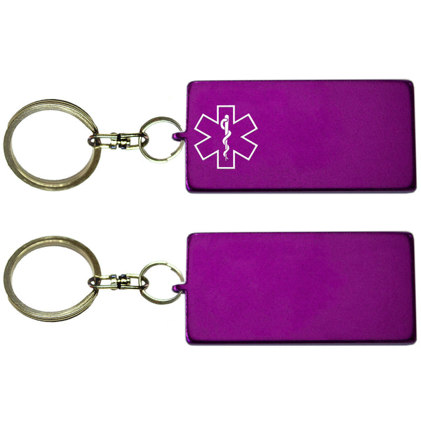 Two Purple Rectangle Shaped Key Chains With Medical Alert Symbol