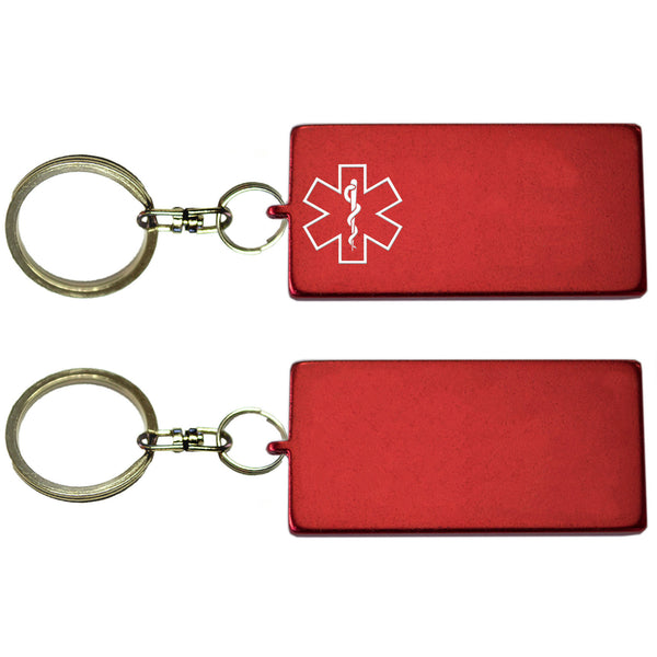 Two Red Rectangle Shaped Key Chains With Medical Alert Symbol