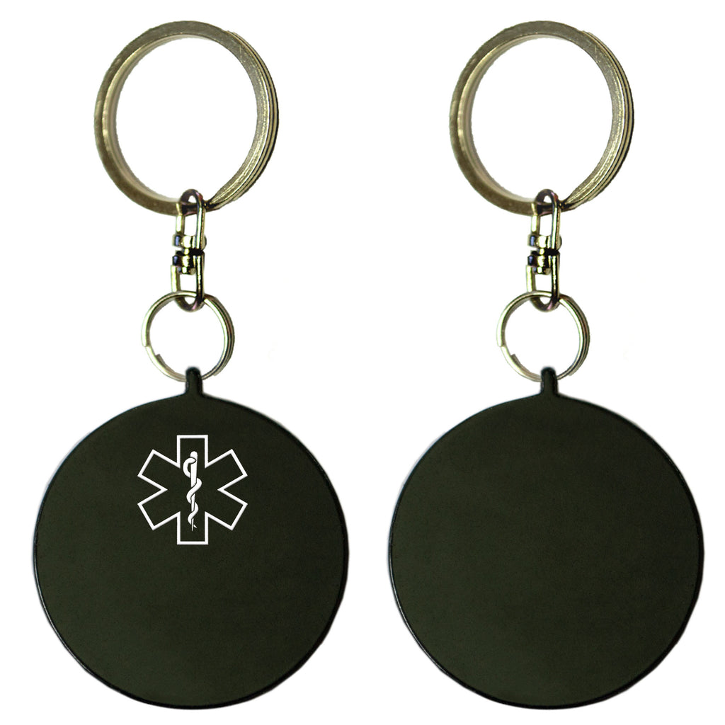 Two Black Round Shaped Key Chains With Medical Alert Symbol