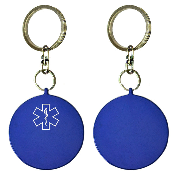 Two Blue Round Shaped Key Chains With Medical Alert Symbol