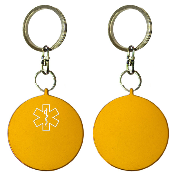 Two Gold Round Shaped Key Chains With Medical Alert Symbol