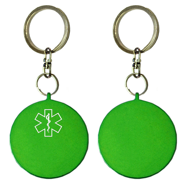 Two Green Round Shaped Key Chains With Medical Alert Symbol