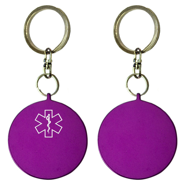Two Purple Round Shaped Key Chains With Medical Alert Symbol