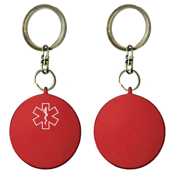 Two Red Round Shaped Key Chains With Medical Alert Symbol