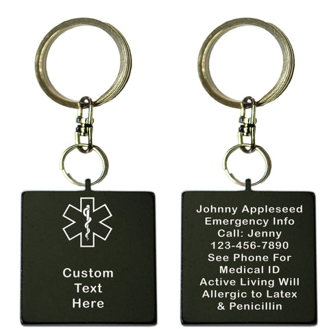 Two Black Square Shaped Custom Text Key Chains With Medical Alert Symbol