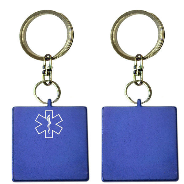Two Blue Square Shaped Key Chains With Medical Alert Symbol