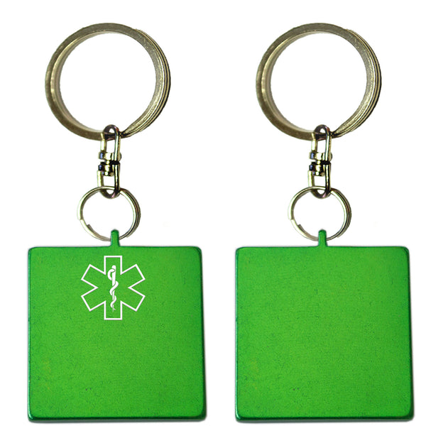 Two Green Square Shaped Key Chains With Medical Alert Symbol