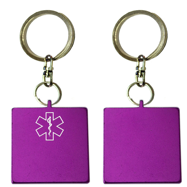 Two Purple Square Shaped Key Chains With Medical Alert Symbol