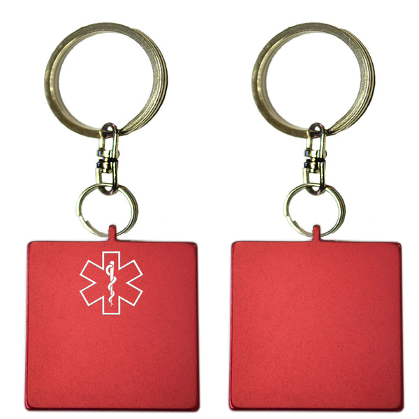 Two Red Square Shaped Key Chains With Medical Alert Symbol