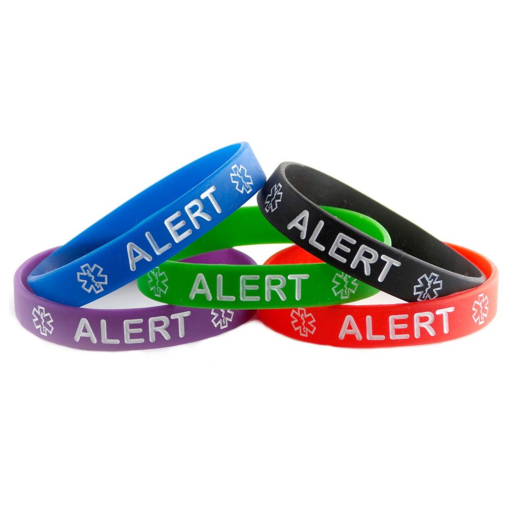 Black Blue Green Purple and Red Combo Pack Alert Bracelets Wristbands With Medical Alert Symbol
