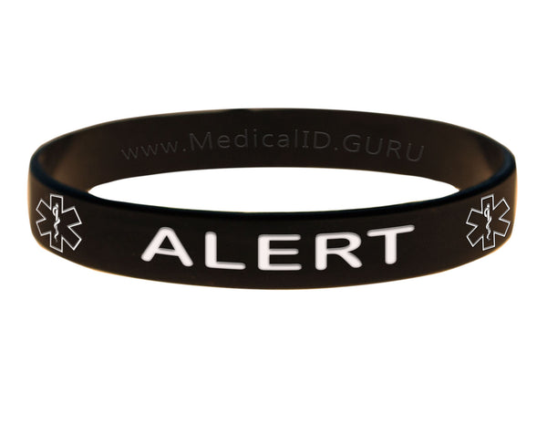 Black Alert Bracelet Wristband With Medical Alert Symbol