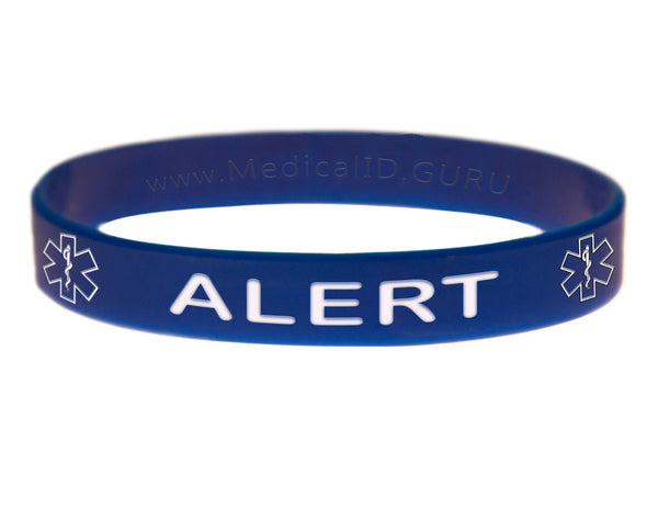 Blue Alert Bracelet Wristband With Medical Alert Symbol