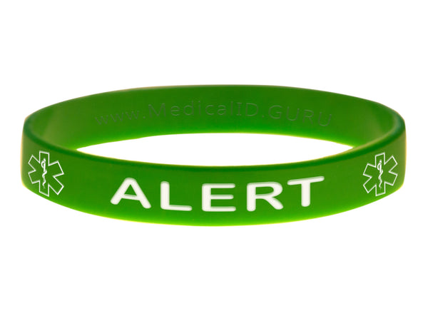 Green Alert Barcelet Wristband With Medical Alert Symbol