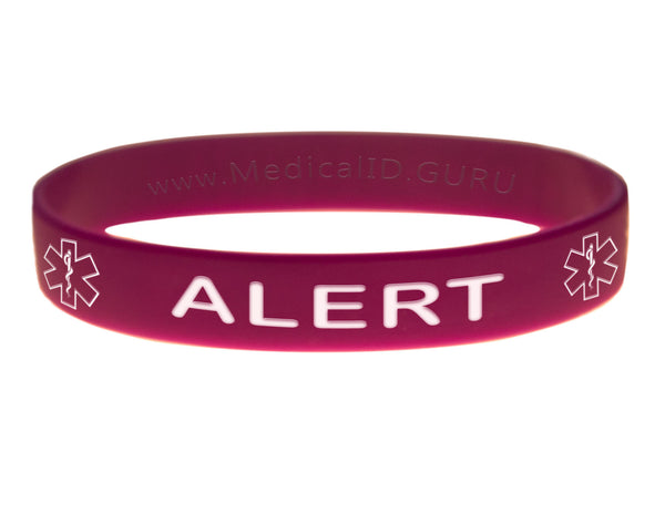 Purple Alert Bracelet Wristband With Medical Alert Symbol