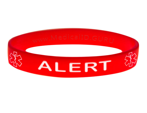 Red Alert Bracelet Wristband With Medical Alert Symbol