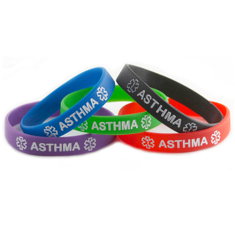 Black Blue Green Purple Red Combo Pack Asthma Bracelets Wristbands With Medical Alert Symbol