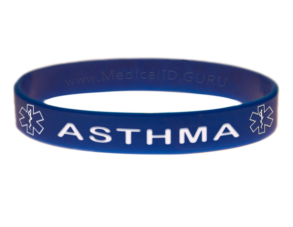 Blue Asthma Bracelet Wristband With Medical Alert Symbol