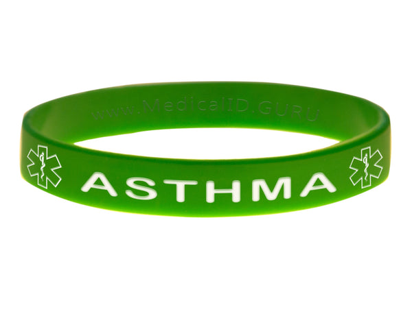 Green Asthma Bracelet Wristband With Medical Alert Symbol