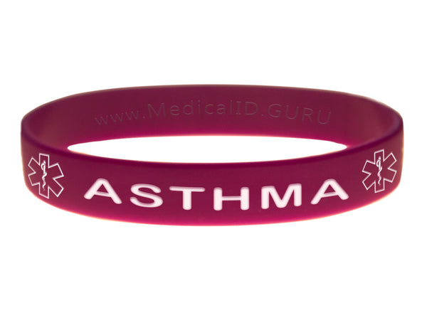 Purple Asthma Bracelet Wristband With Medical Alert Symbol