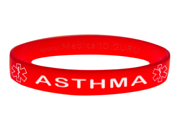 Red Asthma Bracelet Wristband With Medical Alert Symbol