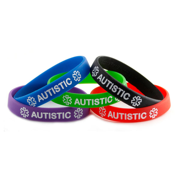 Black Blue Green Purple Red Combo Pack Autistic Bracelets Wristbands With Medical Alert Symbol