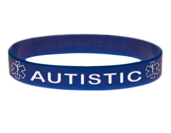 Blue Autistic Bracelet Wristband With Medical Alert Symbol