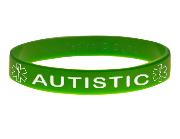 Green Autistic Bracelet Wristband With Medical Alert Symbol