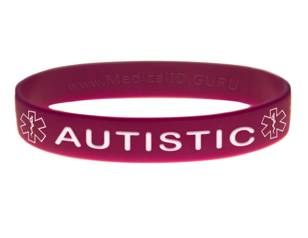 Purple Autistic Bracelet Wristband With Medical Alert Symbol