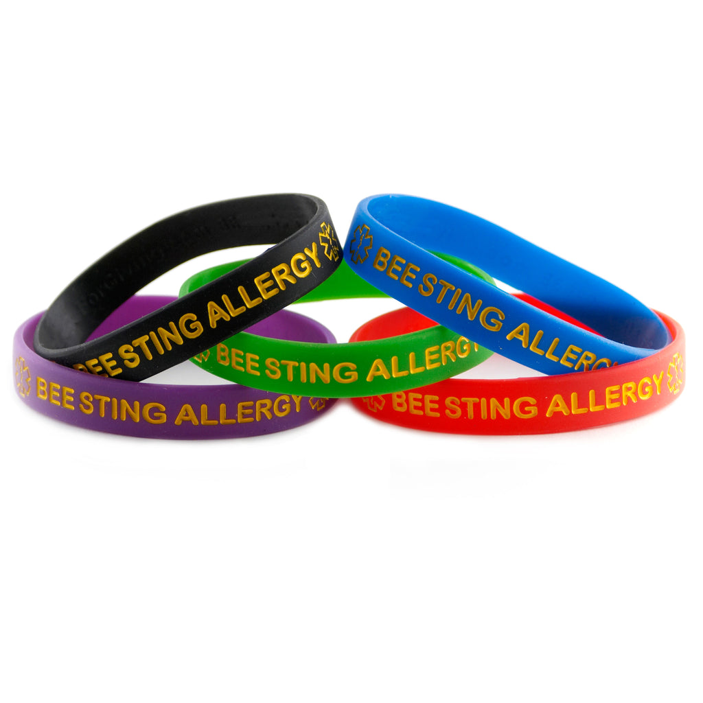 Black Blue Green Purple Red Combo Pack Bee Sting Allergy Bracelet Wristbands With Medical Alert Symbol