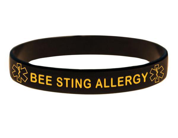 Black Bee Sting Allergy Wristband With Medical Alert Symbol
