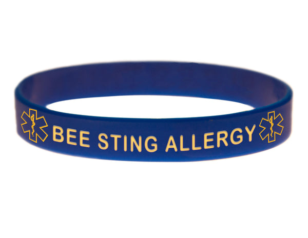 Blue Bee Sting Allergy Wristband With Medical Alert Symbol